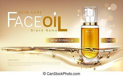 Face oil skin care cosmetics bottle mock up banner
