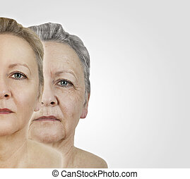 Face old young - a woman young and aged face