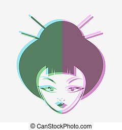 face oriental woman style draw