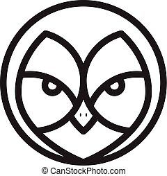 Face owl in line graphic style icon vector