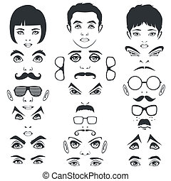 face parts, head - eye lips and hair, men and woman face...