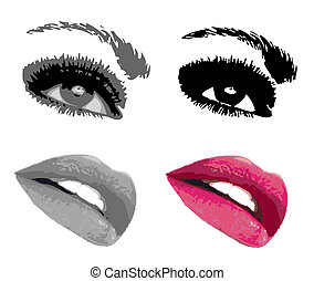 Eye, lips and mouth collection. Vector illustration