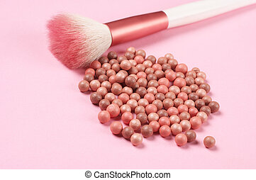 Face pearls blush and brush