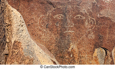 Face Petroglyph at Three Rivers Petroglyph site in New ...