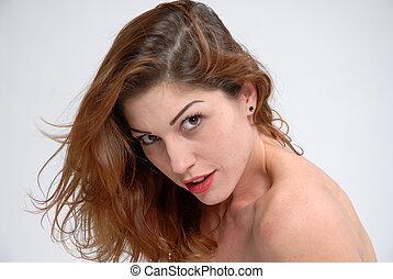 Face - Closeup on the face of a beautiful brunette