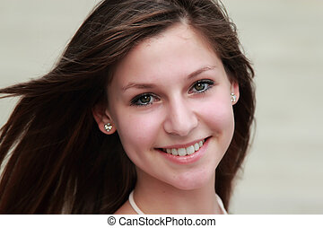 face portrait of a beautiful young girl