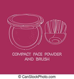 face powder and brush painted by hand on a purple background...