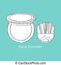 face powder and brush painted by hand on a turquoise ...