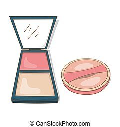 face powder beauty tools - vector design of beauty equipment...