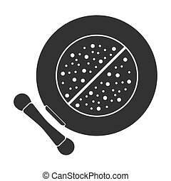 Face powder icon in black style isolated on white background. Make up symbol stock vector illustration.