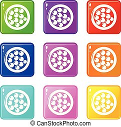 Face powder icons set 9 color collection isolated on white ...