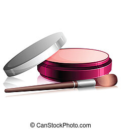 Face Powder - illustration of face powder with beauty brush