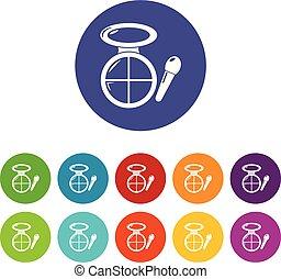 Face powder multicolor icons set vector color