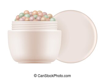 Face powder pearls. Colored meteorites - 3d open container ...