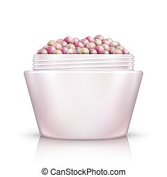 Face Powder Pearls in open container. Isolated on White ...