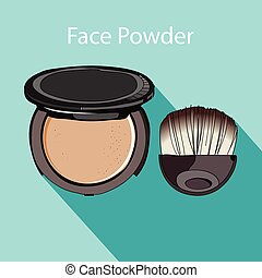 face powder style flat - face powder and brush painted by ...