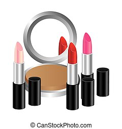 face powder with lipsticks icon, vector illustraction design
