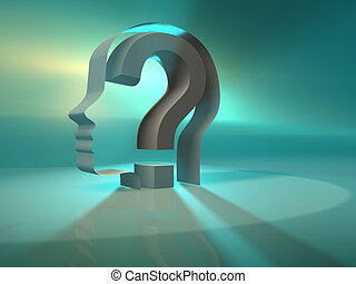 A conceptual face profile with question mark - 3d render