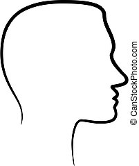Face profile view. - black silhouette of a face profile view