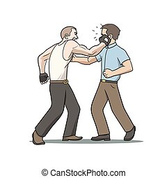 face punch - This is an illustration of fighting men