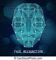 Face id recognition background  Face identification background with
