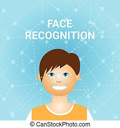 Face Recognition Biometrics Scanning Of Male User Icon...