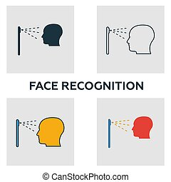 Face Recognition icon set. Four elements in diferent styles from visual device icons collection. Creative face recognition icons filled, outline, colored and flat symbols