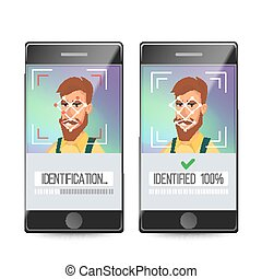 Face Recognition, Mobile Identification Vector. Electronic Verification. Facial Recognition System Concept. Secure Authentication Illustration