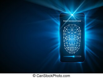 Face Recognition Phone cover color design modern background.