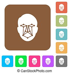 Face recognition rounded square flat icons