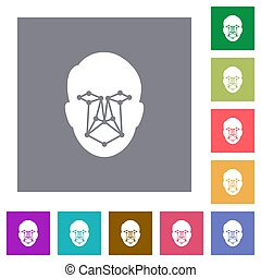 Face recognition square flat icons
