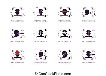Face Recognition System Icons Set Biometric Identification...