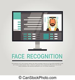 Face Recognition Technology Computer Scanning Muslim Male User Biometric Identification Concept