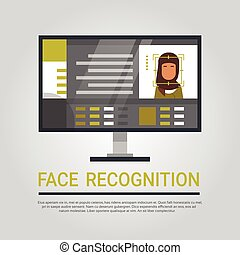 Face Recognition Technology Computer Scanning Muslim Woman User Biometric Identification Concept