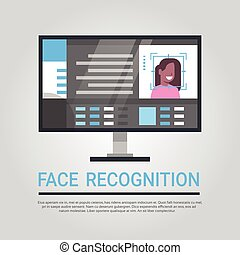 Face Recognition Technology Computer Security System Scanning African American Female User Biometric Identification Concept