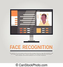 Face Recognition Technology Computer Security System Scanning African American Male User Biometric Identification Concept