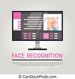 Face Recognition Technology Computer Security System Scanning Female User Biometric Identification Concept