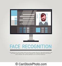 Face Recognition Technology Computer Security System Scanning Male User Biometric Identification Concept