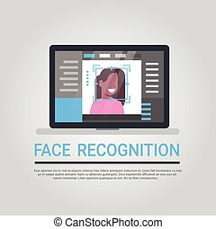 Face Recognition Technology Laptop Computer Security System Scanning African American Female User Biometric Identification Concept