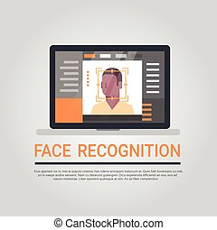 Face Recognition Technology Laptop Computer Security System Scanning African American Male User Biometric Identification Concept