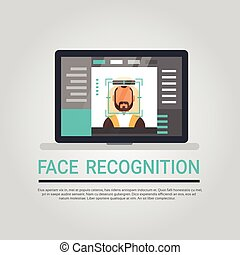 Face Recognition Technology Laptop Computer Security System Scanning Arab Man User Biometric Identification Concept