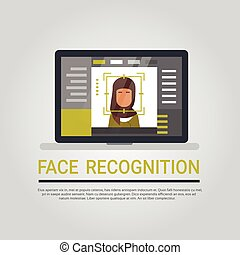 Face Recognition Technology Laptop Computer Security System Scanning Arab Woman User Biometric Identification Concept
