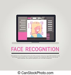 Face Recognition Technology Laptop Computer Security System Scanning Female User Biometric Identification Concept