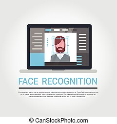 Face Recognition Technology Laptop Computer Security System Scanning Male User Biometric Identification Concept