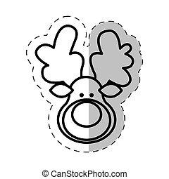 face reindeer christmas cut line vector illustraiton eps 10