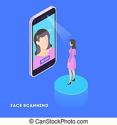 Face scan concept. Facial authentication and verification