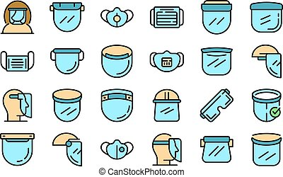 Face shield icons set vector flat