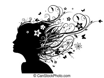 face silhouette - Vector illustration of abstract Young girl...