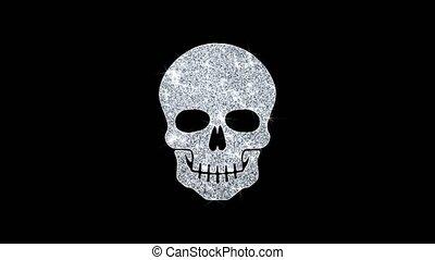Face skull Icon Shining Glitter Loop Blinking Particles .