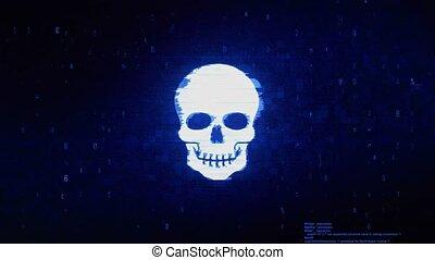 Face skull Symbol Digital Pixel Noise Error Animation. -...